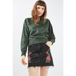 Topshop MOTO roses embroidered skirt